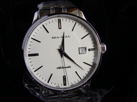 f36a0251e Sea-Gull 816.362 classic dress watch in white & silver 28800 high frequency  automatic movement